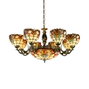 Hotel Dome Shade Suspension Light Stained Glass 11 Lights Tiffany Style Chandelier