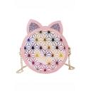 Hot Fashion Geometric Luminous Print Cat Ear Sequin Patched Round Crossbody Bag 13*7*18 CM