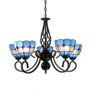 Domed Shade Bedroom Chandelier Art Glass 5 Lights Mediterranean Style Hanging Lamp in Blue