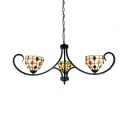 Glass Bowl Suspension Light 3 Lights Tiffany Style Chandelier with Colorful Jewelry for Foyer