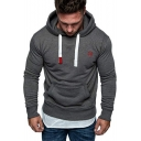 Cool Embroidery Logo Printed Long Sleeve Casual Fitted Drawstring Hoodie