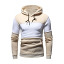 Men's Trendy Colorblock Raglan Long Sleeve Slim Fit Drawstring Hoodie