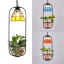 Tiffany Style Rustic Bowl Pendant Light 1 Light Glass Hanging Lamp for Living Room Balcony
