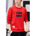 Men's New Stylish Letter SUM MER Printed Long Sleeve Round Neck Pullover Sweatshirt