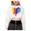 Hot Fashion Colorblock Heart Print Drawstring Hood Long Sleeve White Cropped Hoodie for Women