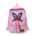Trendy Butterfly Pattern Crisscross Bow Tied School Backpack 27*11*37 CM