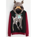 Lovely Christmas Deer Print Antlers Embellished Hood Colorblock Long Sleeve Black Hoodie