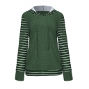 Fashion Women's Stripe Contrast Hem Drawstring Hood Long Sleeve Hoodie