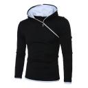 Men's New Stylish Simple Plain Long Sleeve Irregular Zip Up Casual Hoodie