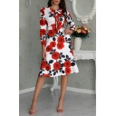 New Stylish Floral Print Round Neck Long Sleeve Bow-Tied Detail Midi A-Line White Dress
