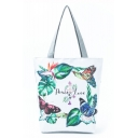 New Fashion Butterfly Leaves Letter Printed White School Shoulder Bag 27*11*38 CM