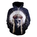 3D Feather Skull Printed Navy Long Sleeve Hoodie with Pocket