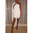 Women's Funny Simple Plain One Shoulder Long Sleeve Asymmetric Hem Midi White Dress