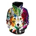 New Fashion Indian Pet Print Drawstring Hood Long Sleeve Hoodie