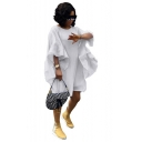 Hot Fashion Round Neck Ruffle Sleeve Plain Loose Mini White Dress For Women
