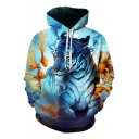 Fashion Men's White Tiger Goldfish Printed Long Sleeve Blue Hoodie with Pocket