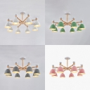 Living Room Dome Chandelier Metal 8 Lights Simple Style White/Gray/Green/Pink Ceiling Lamp