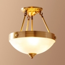 Dome Living Room Ceiling Lamp Glass 3/4/6 Lights Traditional Semi Flush Mount Light in Brass