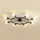 Rotatable Black Rudder Ceiling Lamp 8 Lights Traditional Metal Semi Flush Ceiling Light for Dining Room