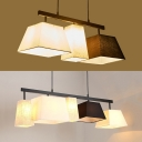 Modern Style Craftsman Hanging Light 3/5 Lights Metal Glass Black & White Island Fixture for Bedroom