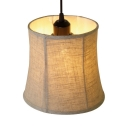 Linen Curved LED Ceiling Light Bedroom Kitchen 1 Light Rustic Style Hanging Lamp in Beige