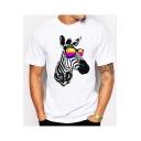Cartoon Sunglasses Zebra Printed White Round Neck Short Sleeve Tee