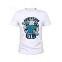 ADVENTURE GYM Letter Cartoon Fitness Muscle Figure Printed White Short Sleeve Round Neck Graphic Tee