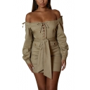 Fashion Khaki Solid Color Off Shoulder Long Sleeve Lace Up Bow Tie Mini Bodycon Pencil Dress
