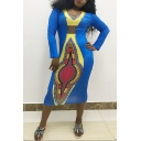 Women's Colorblock Tribal Printed V Neck Long Sleeve Midi Blue Bodycon Dress