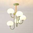 Dining Room Globe Suspension Light Metal 5 Lights Creative Macaron Color Up/Down Lighting Chandelier