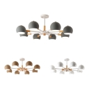 Living Room Globe Suspension Light Metal 8 Lights Nordic Style Macaron White/Gray/Khaki Chandelier
