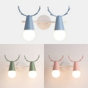 Lovely Deer Horn Sconce Light Metal 2 Lights Macaron Blue/Pink/Green Wall Lamp for Boy Girl Bedroom