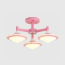 Lovely Cone Semi Flush Mount Light 3 Lights Metal Macaron Colored Ceiling Fixture for Boy Girl Bedroom