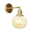 1/2 Pack Amber Glass Sconce Light Melon Shade 1 Light Vintage Style Sconce Lamp in Brass for Bathroom