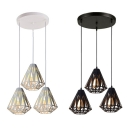 Living Room Diamond Hanging Lamp Metal 3 Lights Industrial Ceiling Light Black/White Pendant Light
