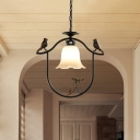 Study Room Bell Suspension Light Frosted Glass 1 Light Rustic Ceiling Light with Bird & Butterfly