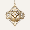 Candle Shape Living Room Chandelier with Shade 3 Lights Metal Colonial Style Suspension Light in Brass