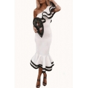 Women's Vintage One Shoulder Short Sleeve Plain Contrast Hem Midi Bodycon White Dress