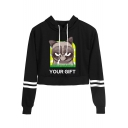 Cute Cartoon Grumpy Cat Letter YOUR GIFT Striped Long Sleeve Cropped Hoodie