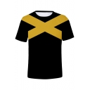 Summer Guys Cool Yellow Letter X Colorblock Short Sleeve Black Fitted T-Shirt