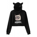 Cute Cartoon Ear Hood Letter HAPPY Grumpy Cat Long Sleeve Cropped Hoodie