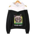 Fashion Cute Grumpy Cat YOUR GIFT Print Cold Shoulder Long Sleeve Pullover Hoodie