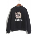Cute Cartoon Grumpy Cat HAPPY Letter Print Mock Neck Loose Fit Pullover Sweatshirt