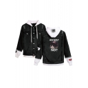 New Fashion Cute Grumpy Cat Letter HOW ABOUT NO Patched Hooded Long Sleeve Button Down Black Denim Jacket
