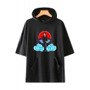 Summer Popular Comic Anime Figure Cloud Printed Short Sleeve Hooded T-Shirt