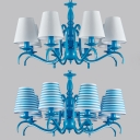 Blue/White Tapered Shade Chandelier 8 Lights Mediterranean Style Metal Suspension Light for Living Room
