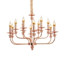 Copper Candle Suspension Light 12 Lights Elegant Style Metal Hanging Light for Restaurant