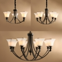 American Rustic Bell Shade Chandelier 3/5/8 Lights Frosted Glass Hanging Light in Black for Kitchen