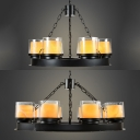 Clear Glass Cylinder Shade Chandelier Stair 6/8 Lights American Rustic Hanging Lamp in Black