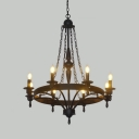 Villa Candle Shape Chandelier Light Metal 12 Lights Colonial Style Black Pendant Lamp